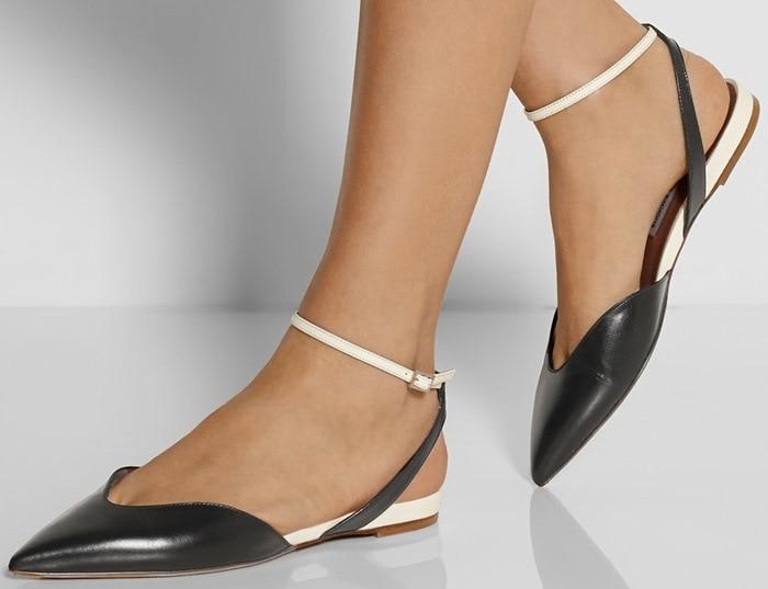 Tabitha Simmons Vera Leather Point-Toe Flats