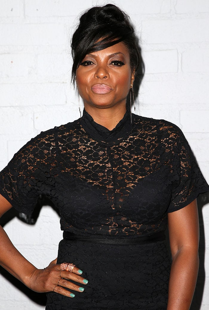Taraji P. Henson in a lace dress at the launch party of Samsung S6 and S6 Edge at Quixote Studios in Los Angeles on April 2, 2015