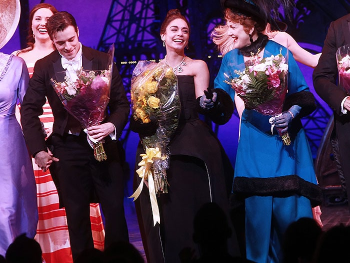 "Vanessa Hudgens and her ""Gigi"" co-stars take a bow and receive flowers after their performance"