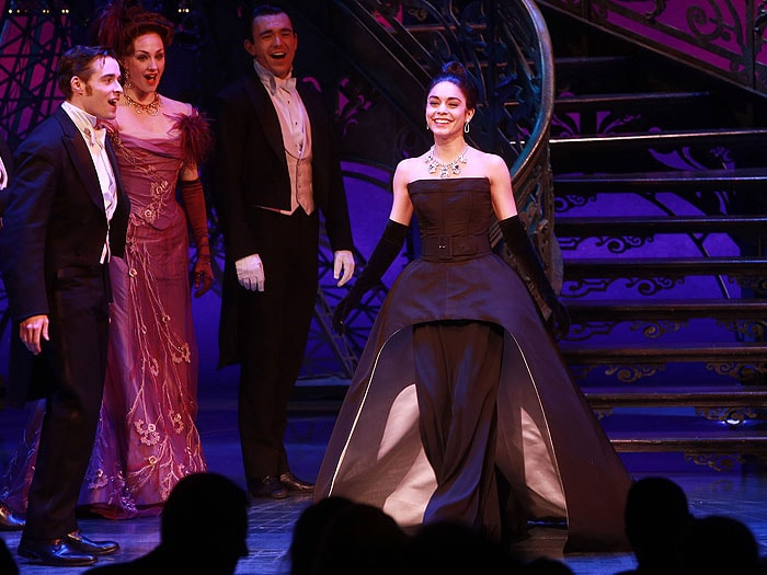 "Vanessa Hudgens performs during opening night of the Broadway show ""Gigi"" at the Neil Simon Theatre"