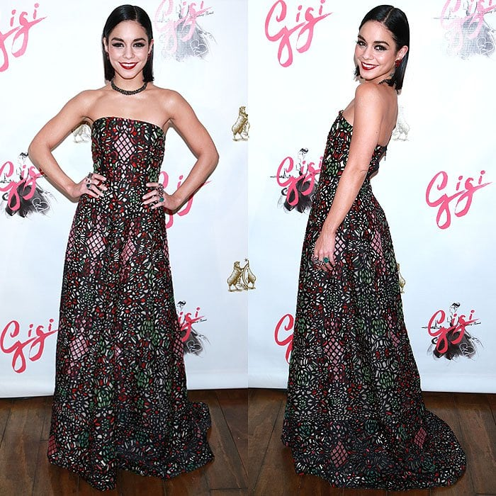Vanessa Hudgens shows off a dramatic strapless dress by Alice + Olivia by Stacey Bendet