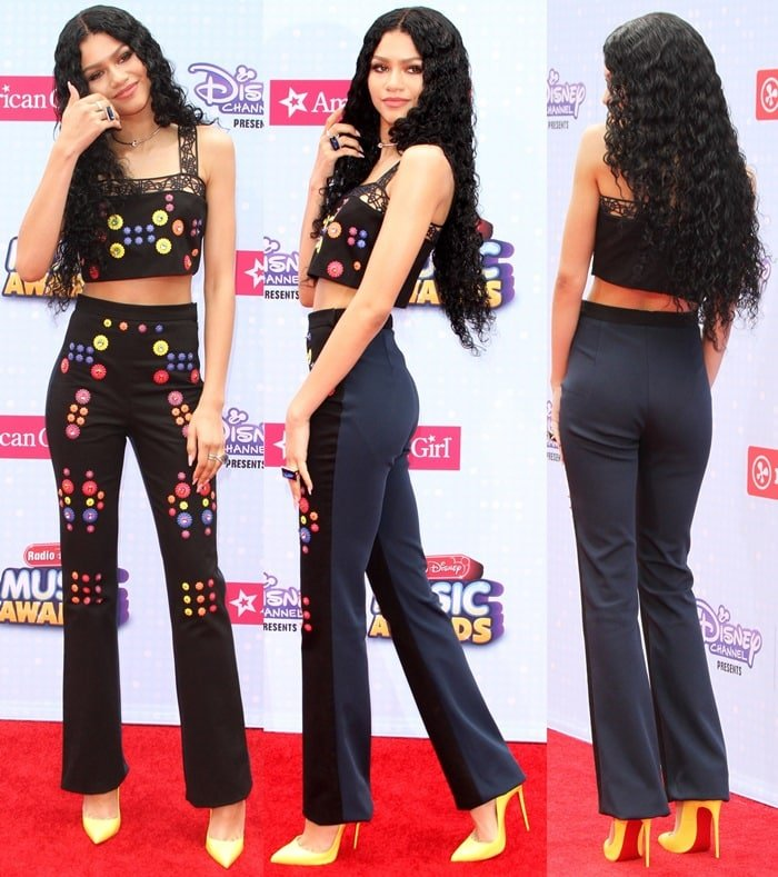 Zendaya in black pants from Peter Pilotto's Spring 2015 collection