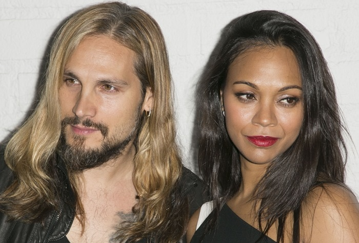 Zoe Saldana and Marco Perego at the Samsung launch of the Galaxy S 6 and Galaxy S 6 Edge