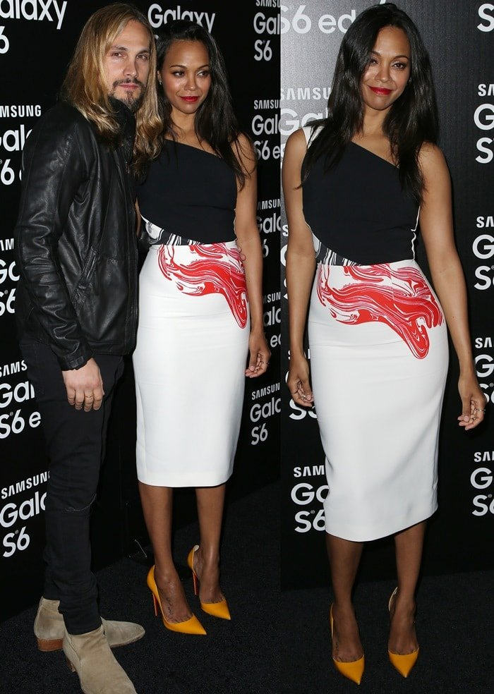 Zoe Saldana donned a feminine one-shoulder dress from Roland Mouret featuring color-block panels and bold prints