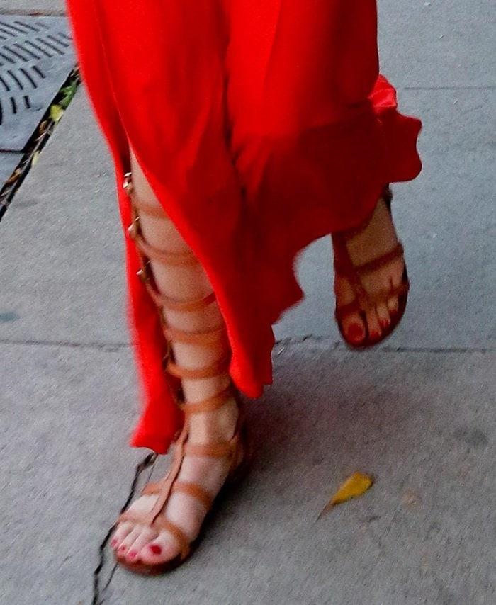 Bella Thorne showed off her feet in Schutz gladiator sandals