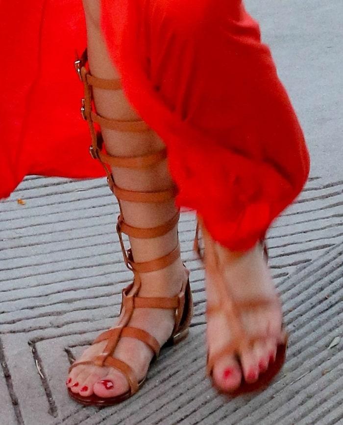 Bella Thorne's hot legs in gladiator sandals