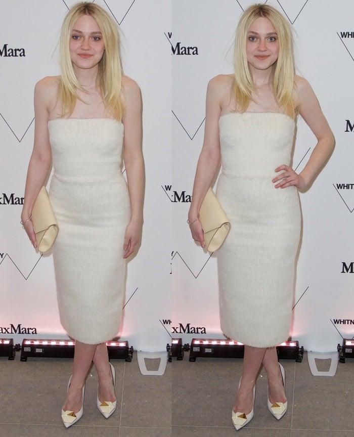 Dakota Fanning's ivory Max Mara Fall 2015 strapless mohair dress