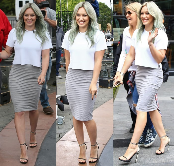 Hilary Duff flaunted her legs in a white top and gray Jonathan Simkhai ribbed skirt