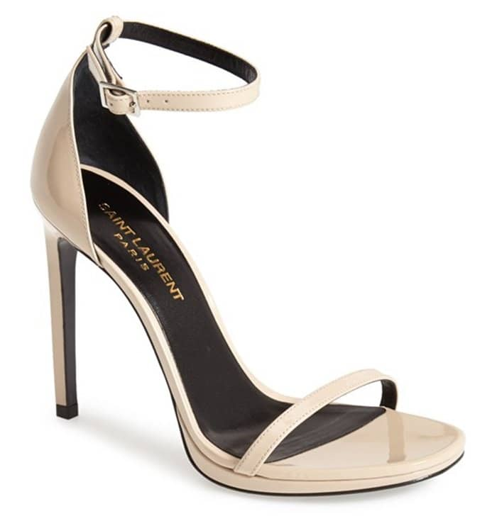Saint Laurent Jane Sandals in Nude Patent Leather