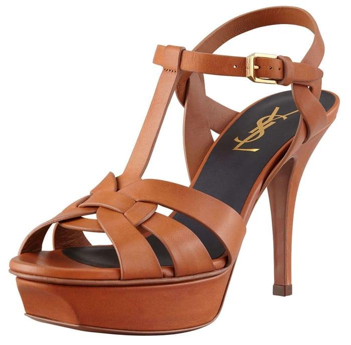 saint laurent tribute sandals tan