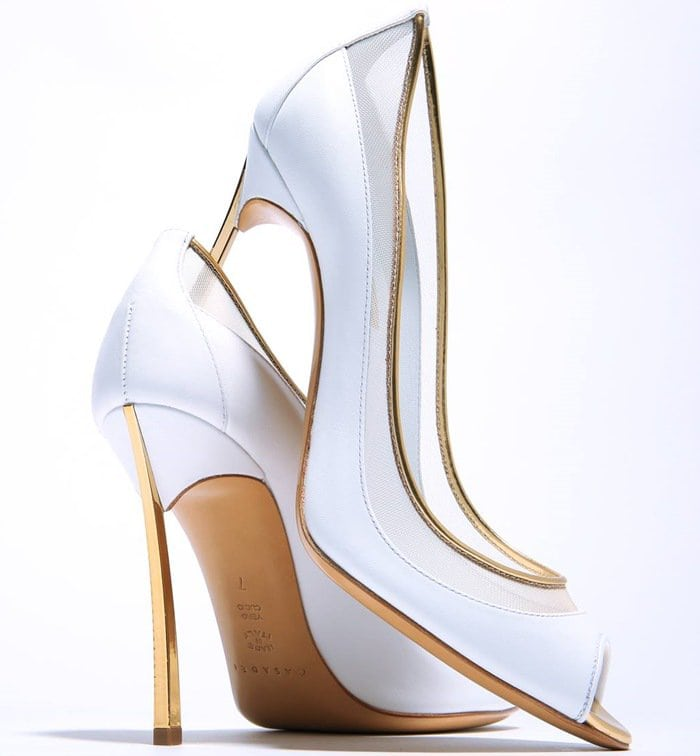 """Casadei """"Blade Sheer"""" Gold-Lacquered Heels"""