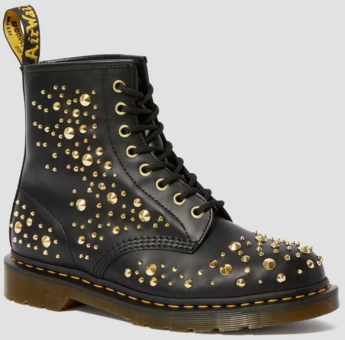 Dr. Martens 1460 Midas Smooth Leather Gold Studded Boots