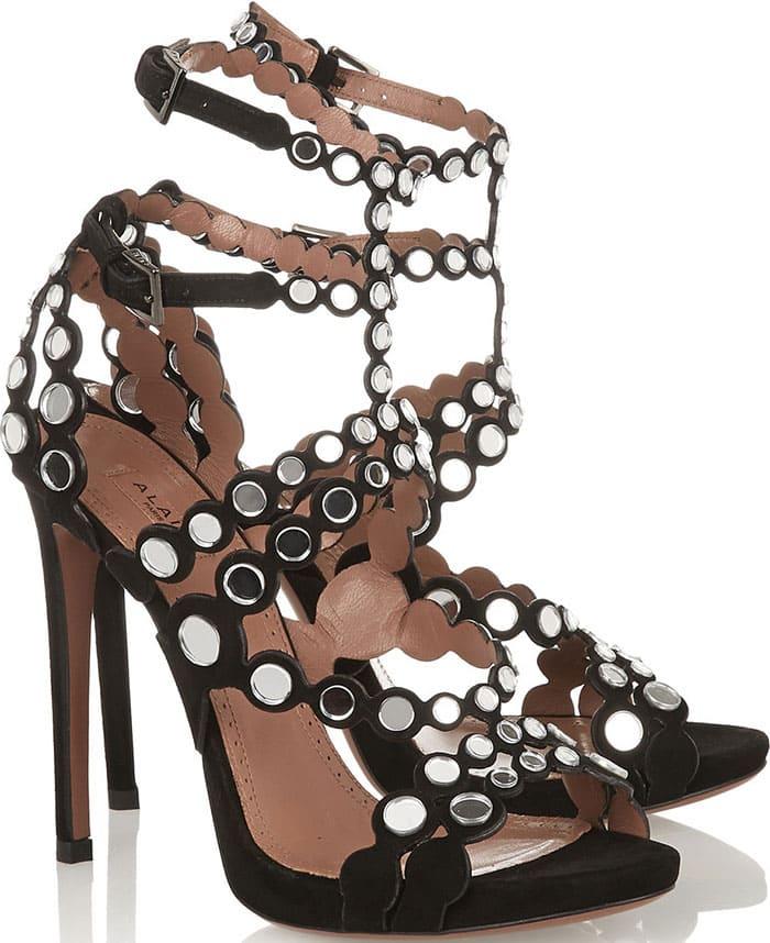 Alaia Mirror-embellished laser-cut suede sandals