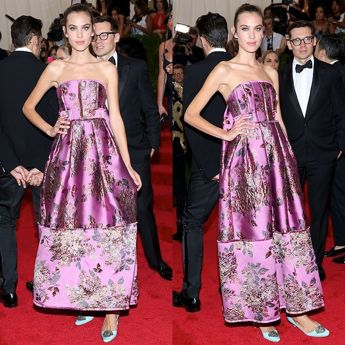 Alexa Chung stayed within the China theme of the 2015 Met Gala in an Erdem strapless embroidered gown
