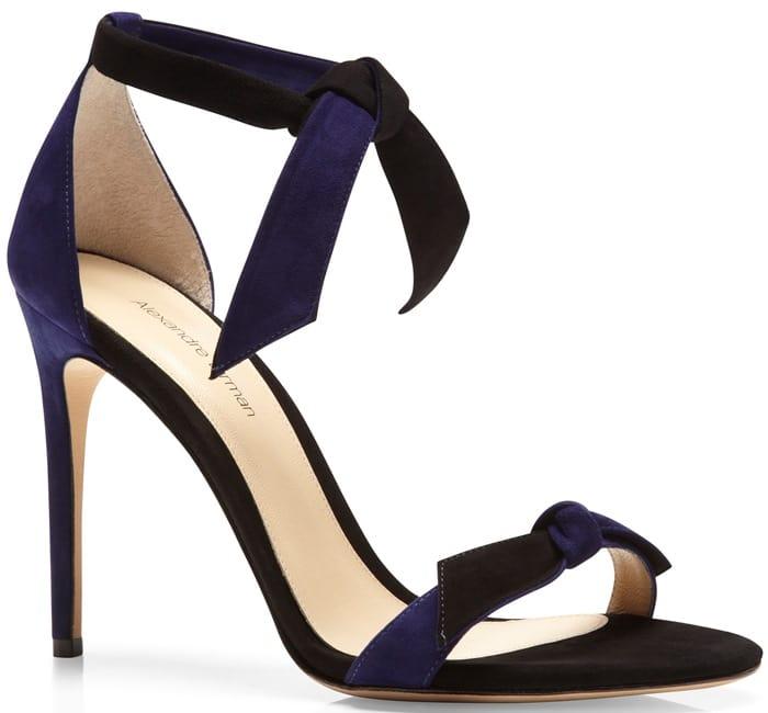Alexandre Birman Blue Suede Lady Like Knotted Sandal