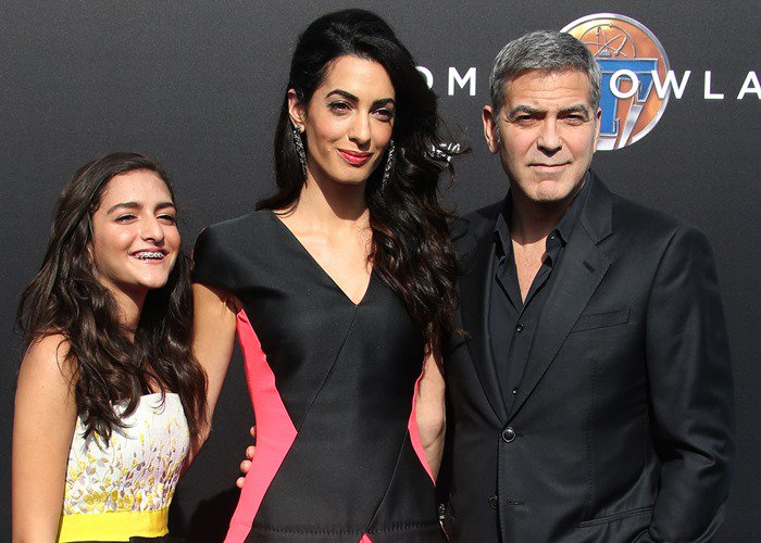 """Mia Alamuddin, Amal Clooney and George Clooney attend the premiere of """"Tomorrowland"""""""