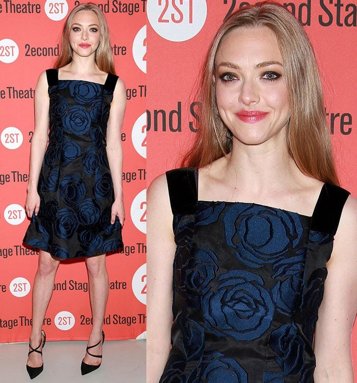 Amanda Seyfried flashed her legs in a midnight blue-and-black floral brocade dress