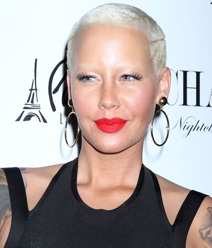 Amber Rose's platinum blonde buzz cut