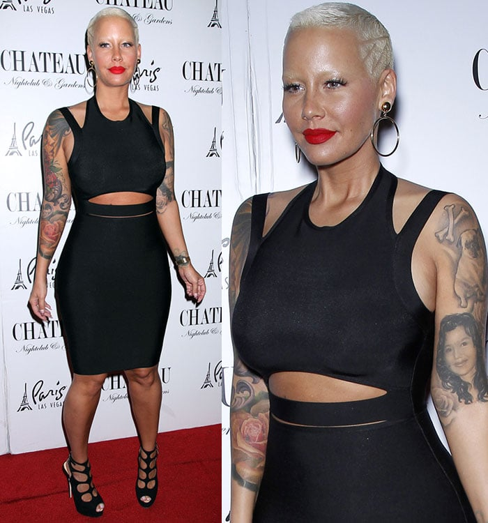 Amber-Rose-in-fitted-daring-black-dress
