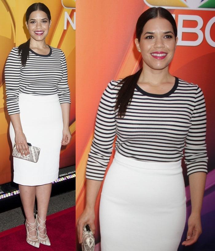 America Ferrera in a conservative quarter-sleeved striped sweater