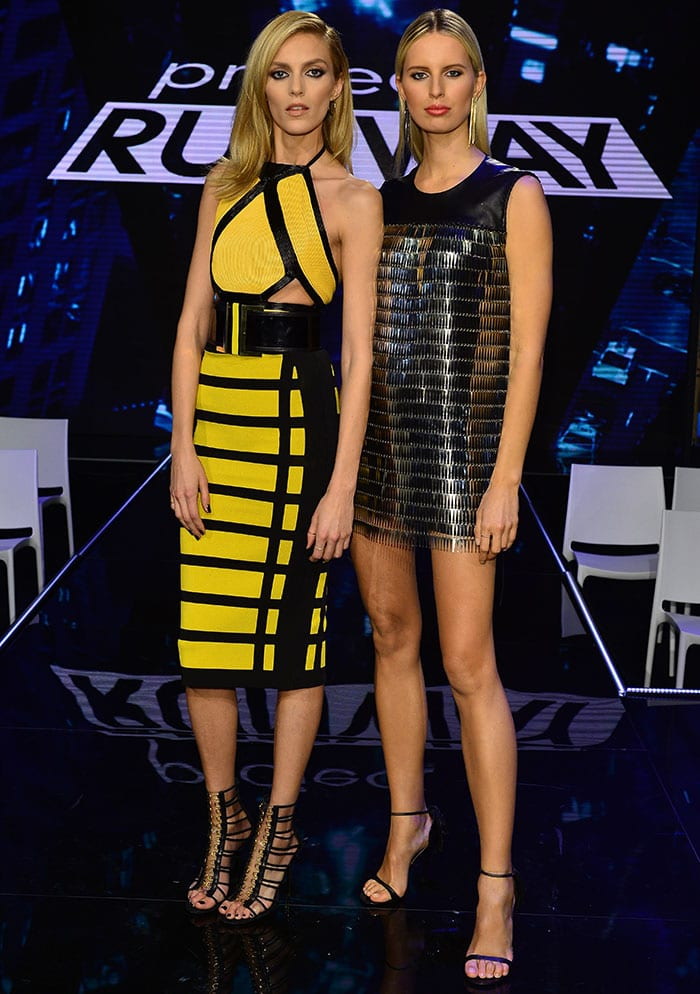 Anja Rubik flaunted her legs in a bright yellow-and-black halter dress