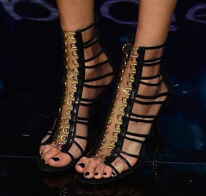 Anja Rubik's sexy feet in Balmain sandals