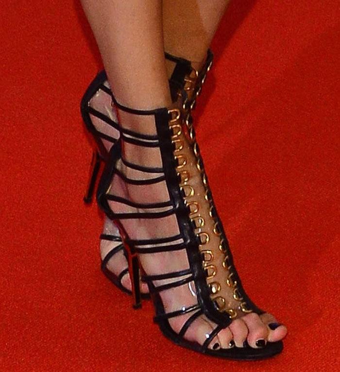 Anja Rubik displayed her toes Balmain heels