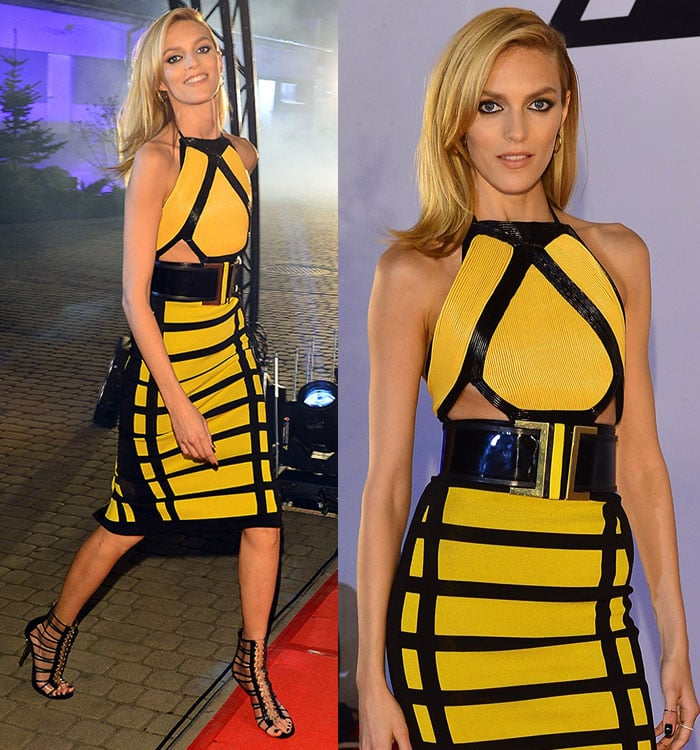 Anja Rubik added a few more inches to her statuesque figure with stiletto shoes