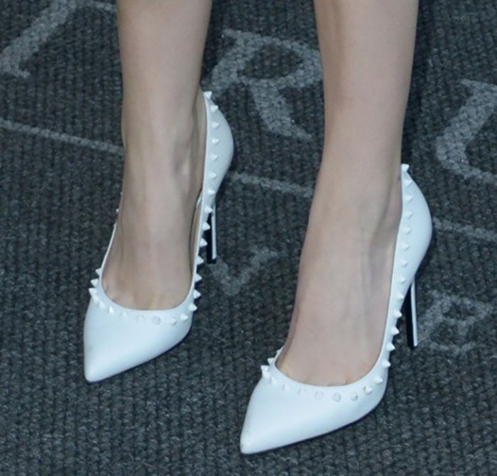 Anna Kendrick shows off her feet in Barbara Bui pumps
