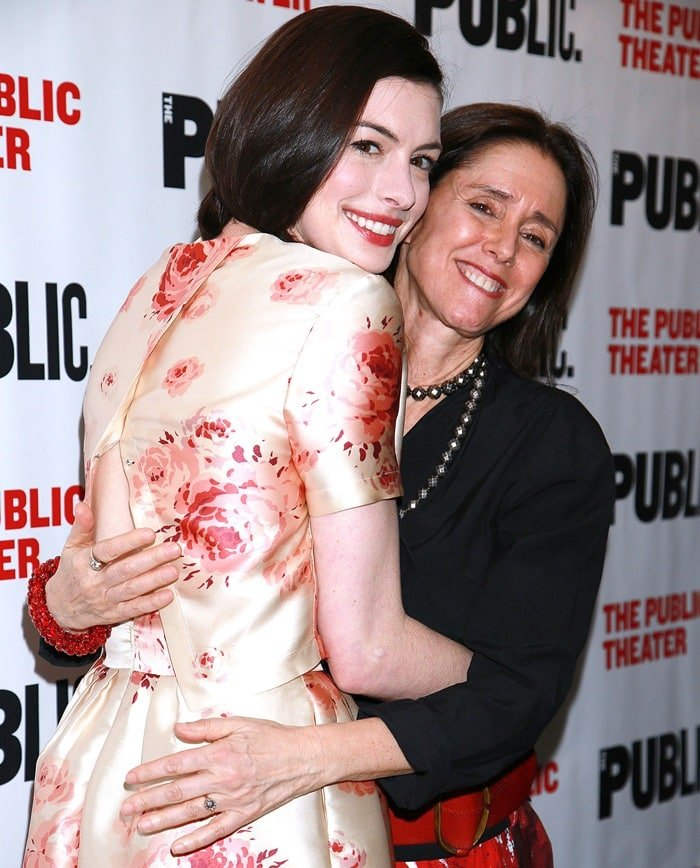 """Anne Hathaway and Julie Taymor at the after-party for the opening of """"Grounded"""""""