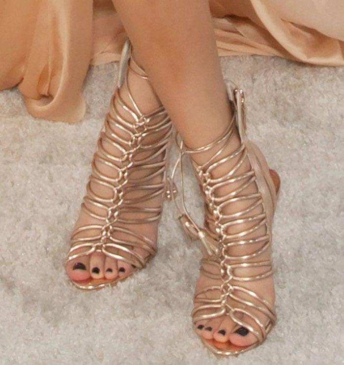 Becky G's hot feet in Sophia Webster sandals