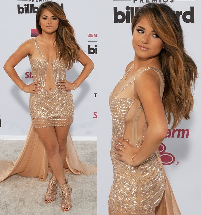 Becky G with nude lipstick in a see-through dress