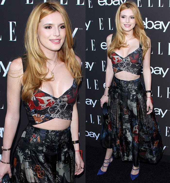 Bella Thorne accessorized with a Cartier panther necklace and Cartier Love bracelets and rings
