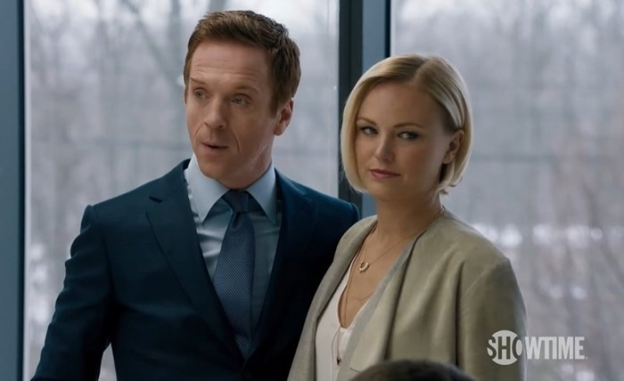 Damian Lewis and Malin Akerman as Lara and Bobby Axelrod in Billions, an American television drama series