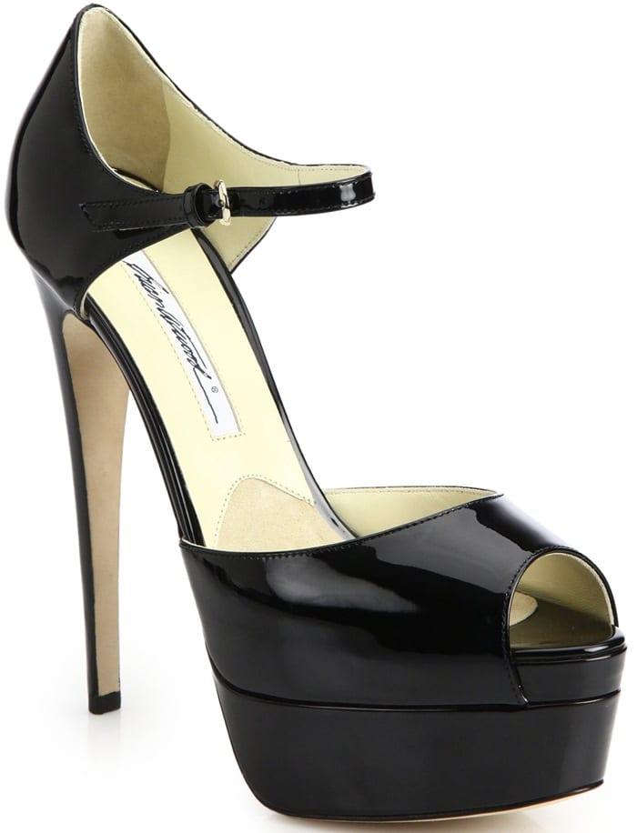 Brian Atwood Black Tribeca Patent Leather Platform Sandals
