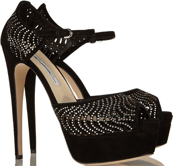 "Brian Atwood ""Tribeca"" Crystal-Embellished Suede Sandals"