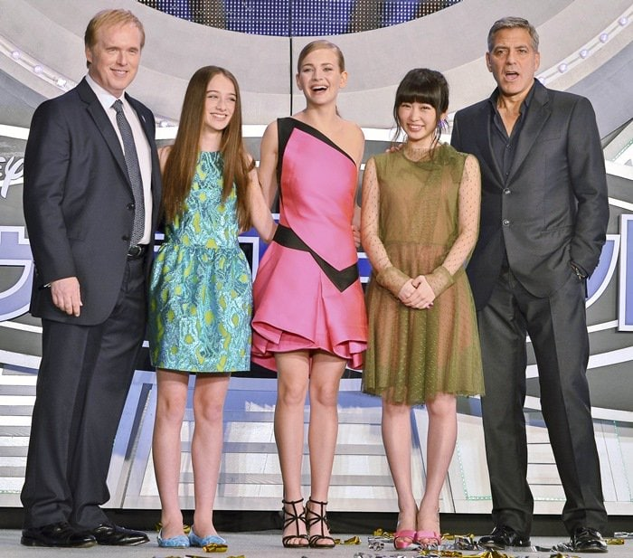 Britt Robertson was joined by Japanese actress Mirai Shida and her co-stars George Clooney, Raffey Cassidy, and director Brad Bird