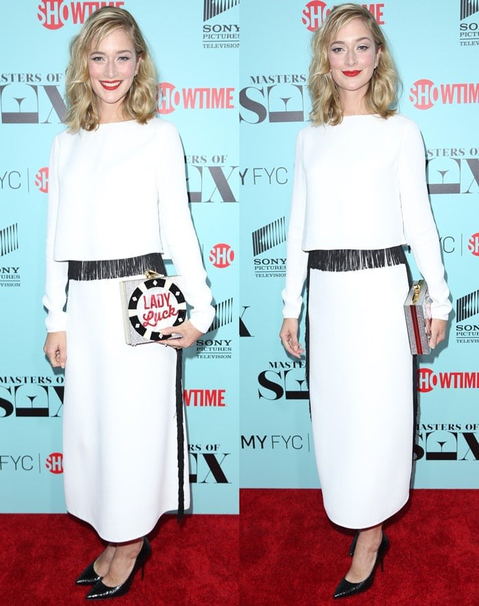 Caitlin Fitzgerald's black and white clean-cut outfit