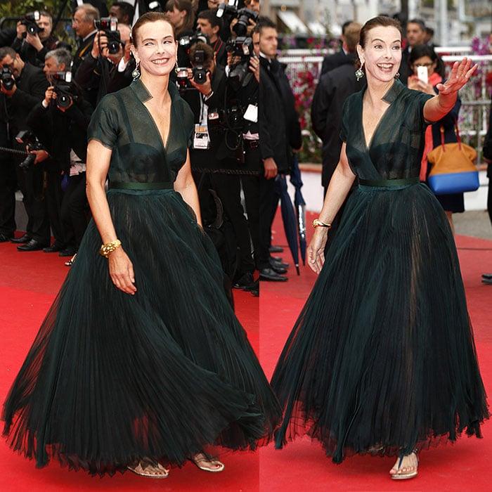 Carole Bouquet flats red carpet