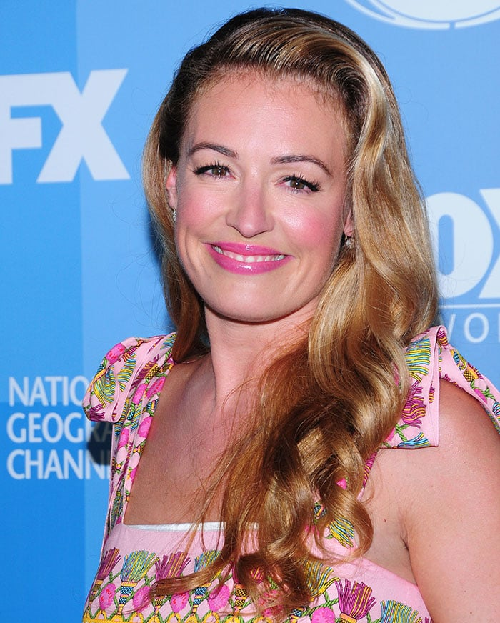 Cat Deeley's long blonde tresses in a soft retro-styled side parting