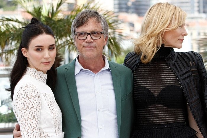 Cate Blanchett, Rooney Mara, and Todd Haynes promoted Carol in Cannes
