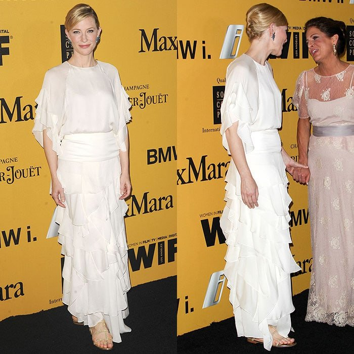"Cate Blanchett stunned in a white Chloé tiered ruffle gown and Jimmy Choo ""Doodle"" sandals at the 2014 Crystal + Lucy Awards"