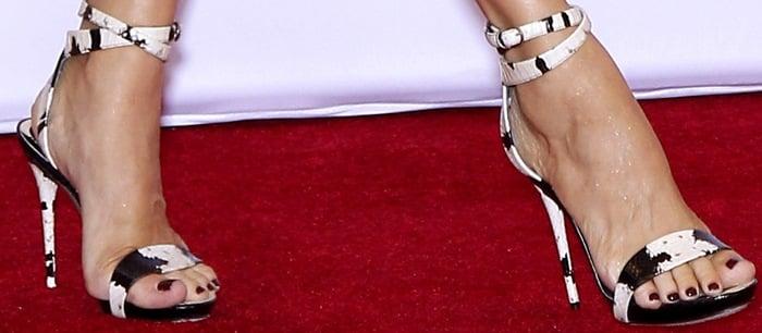 Celine Dion's sexy feet in snake-skin sandals