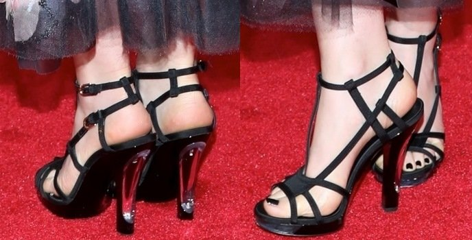 Lily Collins' hot feet in black Chanel strappy shoes