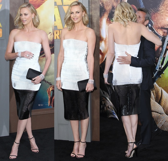 Charlize Theron, posing with her boyfriend Sean Penn, was a blonde bombshell at the premiere of her new movie Mad Max: Fury Road held at TCL Chinese Theatre in Hollywood on May 7, 2015