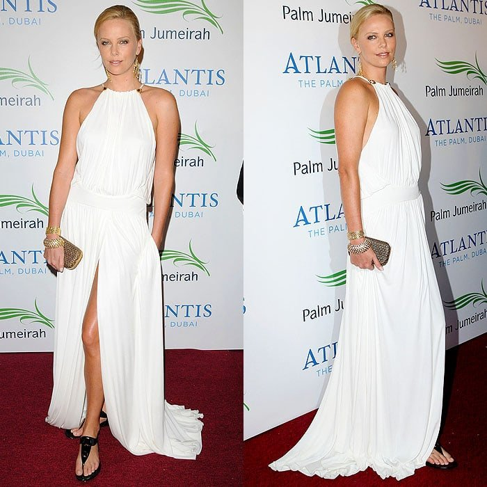 Charlize Theron wearing flats at the launch of the new Atlantis Hotel on the Palm Jumeirah in Dubai, United Arab Emirates, on November 20, 2008