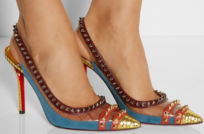 'Cloo' 100 Studded Snake, PVC and Leather Slingback Pumps