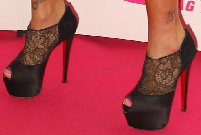 Katie Price's Christian Louboutin peep-toe lace heels
