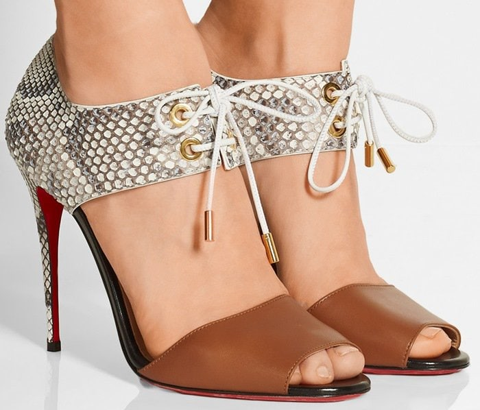 Christian Louboutin Mayerling 100 leather and python sandals