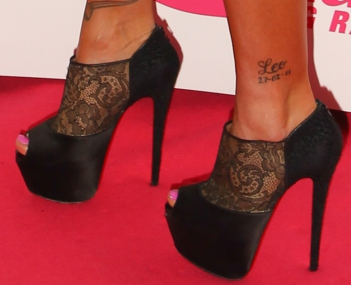 Katie Price's Leo ankle tattoo showing the date she met Argentinian model Leandro Penna